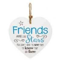 'Friends Are Like Stars......Ceramic Heart Shaped Hanging Sign